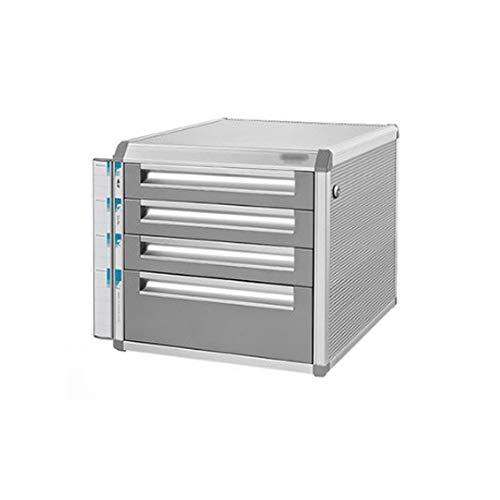 Bxwjg Aluminiumlegierung Aktenschränke, 5-Schichten Abschließbare Tischplatte Büro Desktop Schubladenschrank Große Datenspeicherbox (größe: 12in * 14.4in * 12.2in) (Size : 4-Layers) -
