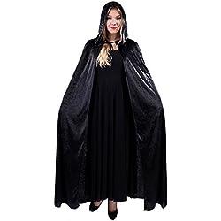 JZK® hombres mujerescapucha capaterciopelo largo capa con capuchacapa de tippet para la fiesta de disfraces de halloween traje vampiro traje vampiro diablo bruja (negro)