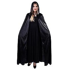 Idea Regalo - JZK Uomo donna mantello nero con cappuccio velluto lungo mantello medievale costume Halloween festa Star Wars costume vampiro diavolo strega