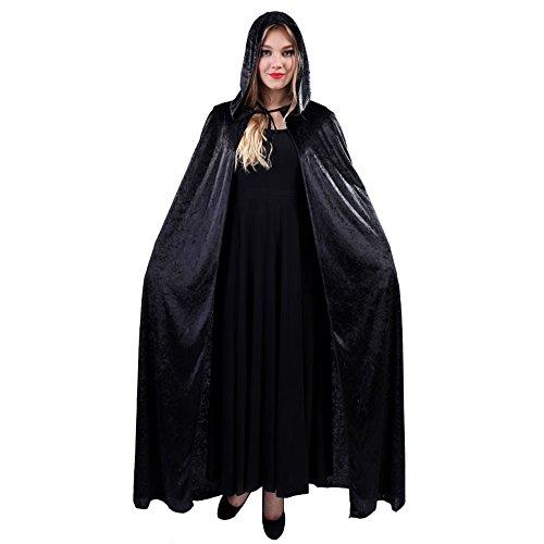 JZK® Männer Frauen schwarz Kapuzen Mantel langer Samt Umhang mit Kapuze Robe für Halloween Kostüm Party Hexe Teufel Vampir Kleid (Schwarz) -