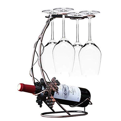 HhGold Weinregale Weinflaschenhalter Moderne Minimalistische Weinglashalter Becherregal Weinflaschenständer Kreatives Zuhause Bartheke Bronze Weinglasregal mit 4 Haken (Größe: 24 * 39 * 15 cm)