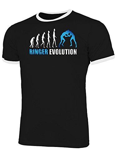 Ringer Evolution 4674 Sport Shirt Tshirt Fanartikel Fanshirt Männer Sportbekleidung Herren Ringer T-Shirts Schwarz Weiss Aufdruck Blau S
