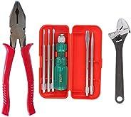 Suzec Johnson Basic Home Kit Combination Plier & 5-Pieces Screwdriver Kit (Multicolour) & Drop Forged