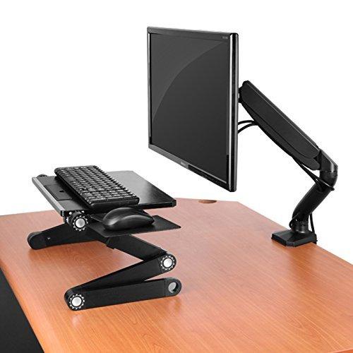 Uncaged Ergonomie Verstellbare Höhe, ergonomische, Drehgelenk, Single Desktop Computer LCD Monitor Arm, Stand + Universal VESA Halterung + Gas Spring + 3USB-Ports, schwarz (mm-b) -