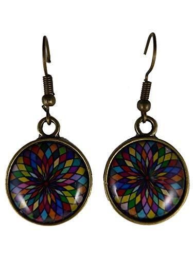 Ohrringe Ohrhänger Hänger Cabochon messingfarben Kirchen Fenster Glas Muster Mosaik bunt 9770