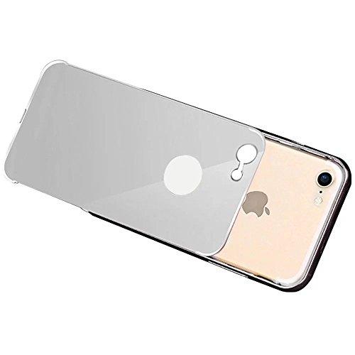 iPhone 7 Hülle, MOMDAD Luxus Mirror Metall Zurück Case Cover für iPhone 7 Schutzhülle Ultra Thin PC Hart Aluminium Abdeckung Telefonkasten Spiegel Transparent Strass Kristall Crystal Kratzfeste Stoßdä Silber