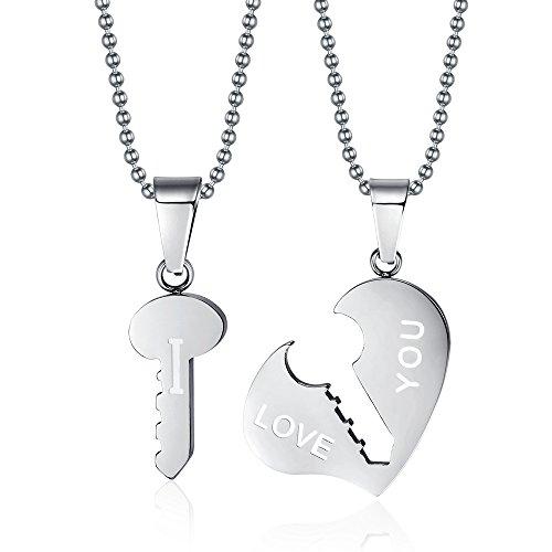 vnox seine und ihre Edelstahl Schlüssel zum Herz Paare passenden Halskette mit gratis Kette Silber, 2Stück