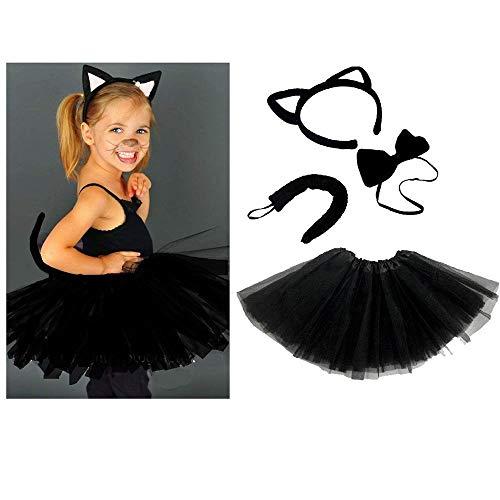 Unbekannt Schwarze Katze Kinder oder Damen Kostüm - Black CAT Costume Set - vertrieb durch ABAV (Komplett Set - Schwarze Katze Tutu Kostüm