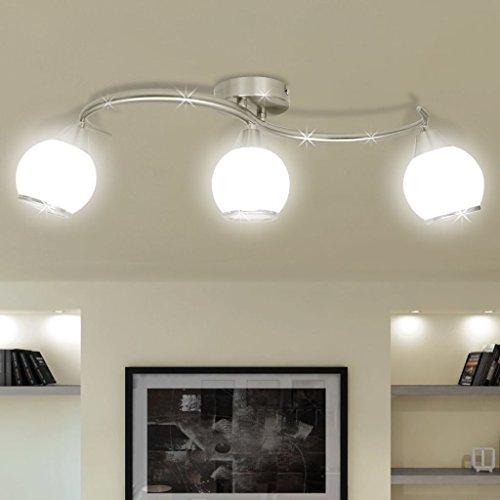 Glühlampen-schiene Leuchte (GoodWork4UEu Deckenleuchte mit Glasschirme auf geschwungener Schiene 3 × E14 Lampen Heim & Garten Beleuchtung KronleuchterWand- & Deckenbeleuchtung Deckenleuchten)