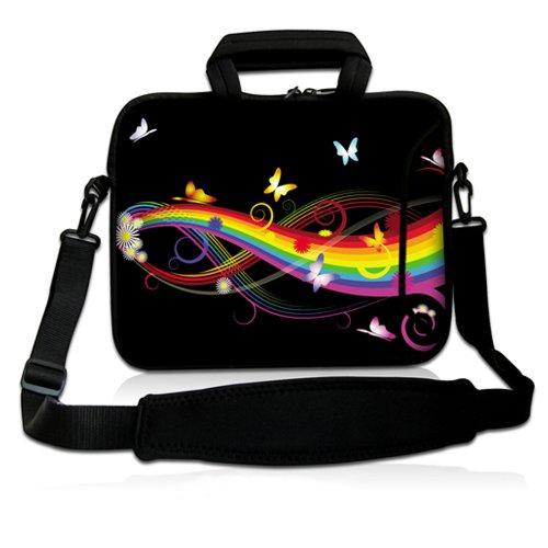 Luxburg® Design Laptoptasche Notebooktasche Sleeve mit Schultergurt & Fach für 17,3 Zoll, Motiv: Schmetterlinge & Regenbogen