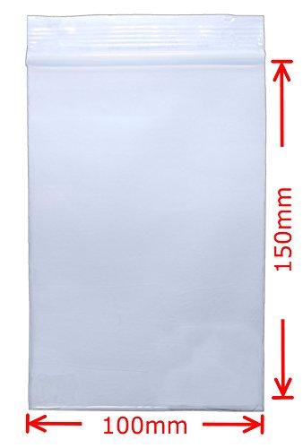 Premium Druckverschlussbeutel 100 Stück 100x150mm 90µ (0,09mm) Transparent, Lebensmittelecht Wiederverschließbar FBA geeignet