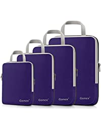 Gonex - 4 Packs Organizador Maleta Bolsas Portátiles para Ropa Bolsas Extensibles e Impermeables Organizador de Almacenaje del Cuatro-tamaño y a Prueba de Polvo