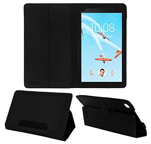 Acm Executive Leather Flip Flap Case for Lenovo Tab 7 Essential Tablet Front & Back Cover Black