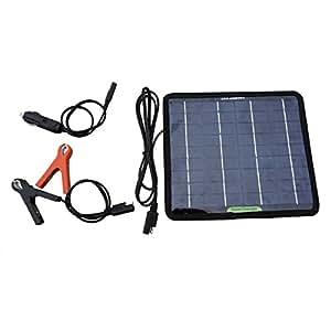 ECO-WORTHY 5W 12V Caricatore Caricabatterie Solare di Batteria Battery Charger per Auto Automobile Motocicletta Veicolo