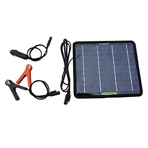 ECO-WORTHY 18V 5W tragbar Solar Auto Boot Power Solar Panel Batterie Ladegerät Betreuer für Automobile Motorrad Zugmaschine Boot Batterien (Solar-12v-batterie-ladegerät)