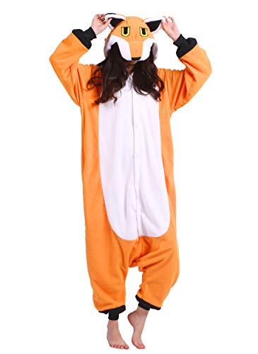 suit Tier Pyjamas Kostüm Fasching Onesie Damen Herren Karneval Cosplay Nachtwäsche, Fuchs ()