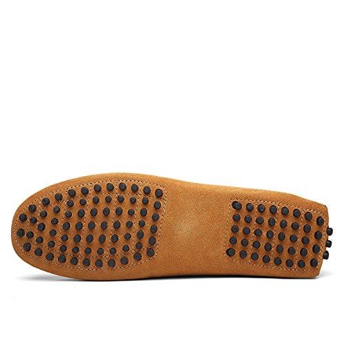 Icegrey Hommes Passant Conduite Chaussures Suède Flâneurs Brun clair