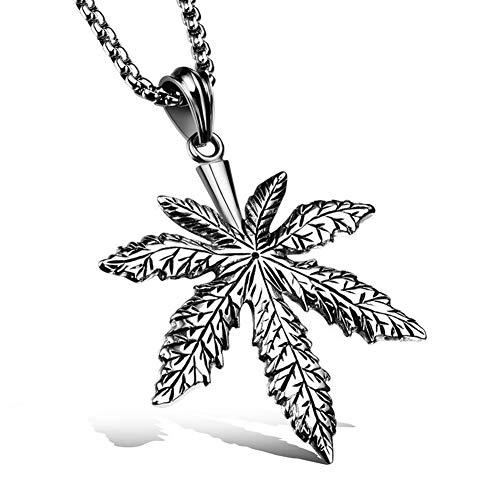 c Punk Titan Stahl Anhänger Ahornblatt Halskette mit 60 cm Kette Cool Weihnachten Valentine Geschenk für Herren Teens Nicht Deformiert, Silvery ()