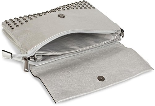 styleBREAKER Clutch mit Nieten, Abendtasche, Schulterriemen, Trageschlaufe, Schultertasche, Damen 02012227, Farbe:Schwarz Silber