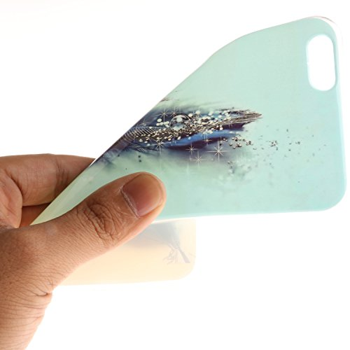 iPhone 6 Plus / 6S Plus (5,5 Zoll) Hülle,iPhone 6 Plus / 6S Plus (5,5 Zoll) Case, Cozy Hut TPU Silikon IMD Technologie Handy tasche Handycover Tasche Hülle Kunst Gemalt Backcover Schutzhülle Handyhüll Blaue Feder