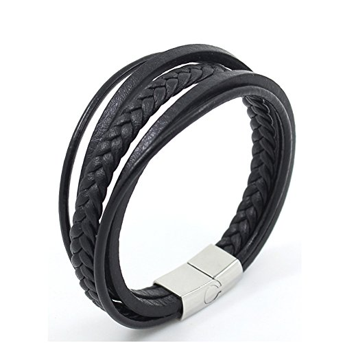 Leather Bracelet for Men Enjoit Stainless Steel Magnetic-Clasp Cowhide Braided Bangle 8.7''