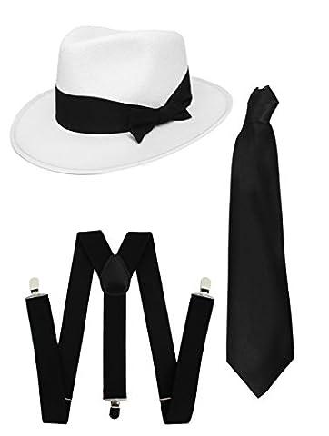 Costumes Al Capone - SET DE DÉGUISEMENT GANGSTER KIT DÉGUISEMENT-CHAPEAU TRILBY