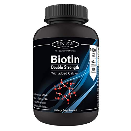 Sinew Nutrition Biotin 10,000mcg (Vitamin B7 for Hair, Skin & Nails) 100 Veg Capsules