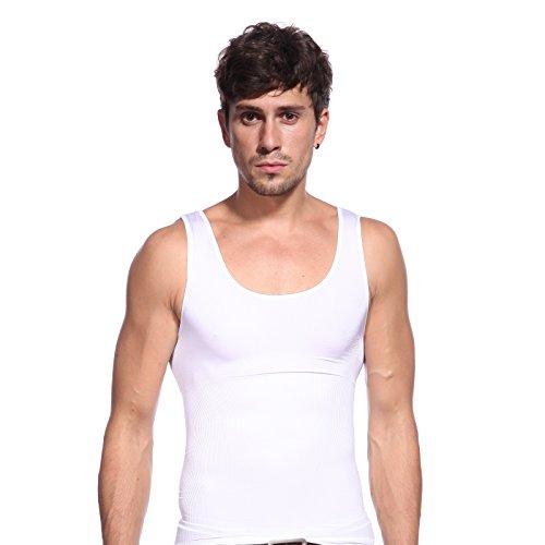 Weiss OneSize Gr.L-XL Bauch Weg Maenner Herren Shapewear bodyshaping Unterhemd Koerperformer Hemd Sportswear