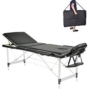 MC Star Massageliege 3 Zonen Aluminium Klappbar Tragbar Massagetisch Faltbar Leicht Deluxe Massage Bett Höhenverstellbar Spa Reiki Tattoo mit Armlehne Kopfstütze Tasche, Schwarz