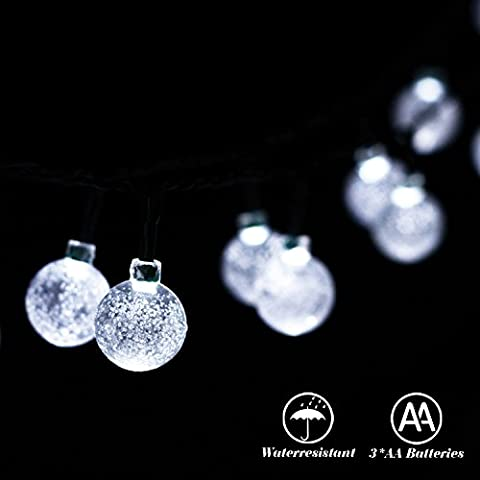 Battery Operated String Lights by RECESKY 30 LED 6.35m Waterproof Fairy Crystal Ball Decor Lighting for Outdoor Indoor Garden Patio Yard Lawn Home House Party Wedding Christmas Decorations