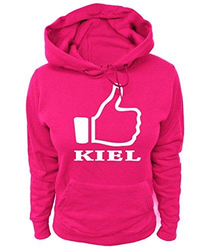 Artdiktat Damen Hoodie - I like Kiel , Größe XL, pink