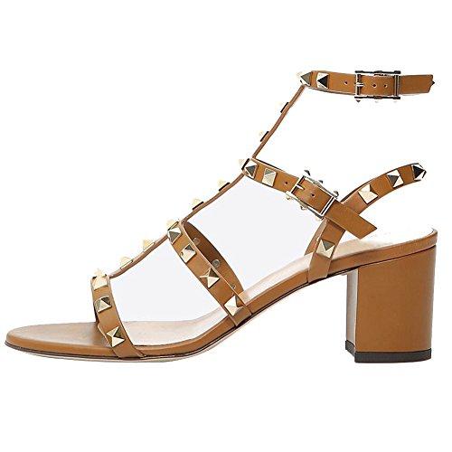Jushee Women's Rivets Studded Slingback Gladiator Shoes Ankle Strap Block Heel Dress Sandals 6 UK (Jeans Fit Studded)