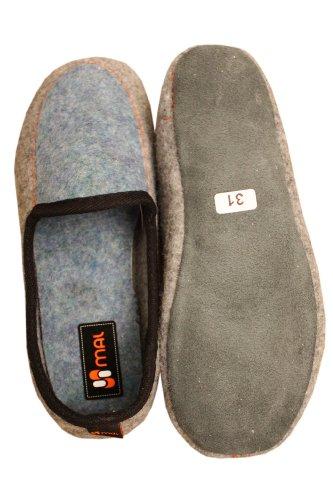 Weri Spezials Jungen Hausschuhe Wolle in Grau mit Blau Grau mit Blau