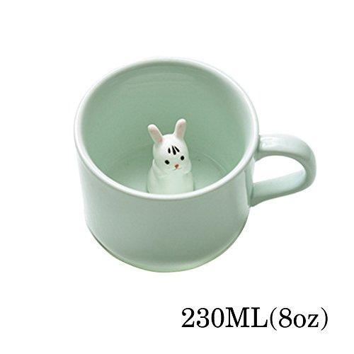 Kaffee-Milch-Tee-Keramik-Becher - 3D Tier-Morgen-Schale mit Panda Innere beste Geschenk Für Morgengetränk und Hochzeiten, Geburtstage, Vatertag BigNoseDeer (Hase)