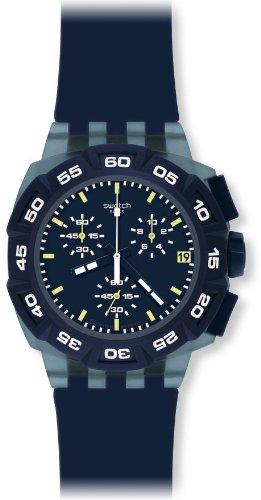 Swatch SUIN402 – Reloj cronógrafo de caballero de cuarzo con correa de plástico azul