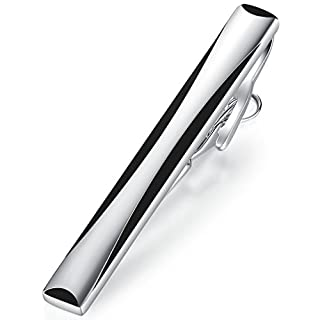 Honey Bear Tie clips Bar for Men - Normal Size Stainless Steel For Business Wedding Christmas Gift 5.4cm Silver with Black (1pc)