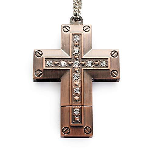 Chiavetta usb da 16/32/64 gb a forma di croce in metallo con catena per collana, chiavetta usb (rame rosso) rosso cross usb 64 gb