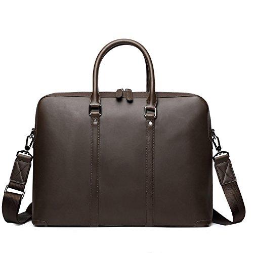 EverVanz Vintage Aktentasche aus echtem Büffel-Leder, für 15 Zoll Laptop, Handgemacht Leder Tasche Messenger Schultertasche Handtasche (Handgemachte Handtasche)
