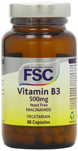 FSC - 60 capsules de 500 mg de Niacinamide (Vitamine B3)