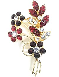 Saree Pin Brooch For Women, Girls & Men, Gold Tone, Red-Mehroon Stone Stud
