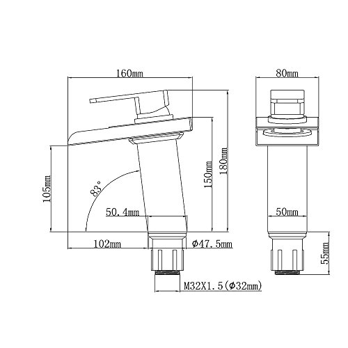 Homelody – Wasserfall-Waschtischarmatur, Einhebel, LED-Beleuchtung, Temperatur-Farbwechsel, Chrom - 5