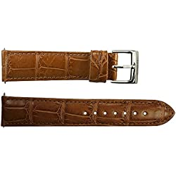 Watch Strap in Brown Alligator - 20 - - buckle in stainless steel - B20038