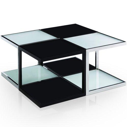 Menzzo Table Basse 4 éléments Cuadro Bicolore Noir/Blanc Verre