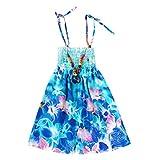 JUTOO Säuglingskindermädchenbaby-Kleidungs-Nationale Art mit Blumenböhmisches Strandgurt-Kleid (Blau,110)