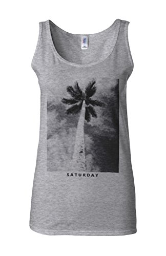 Saturday Palm Holiday Summer Novelty White Femme Women Tricot de Corps Tank Top Vest Gris Sportif