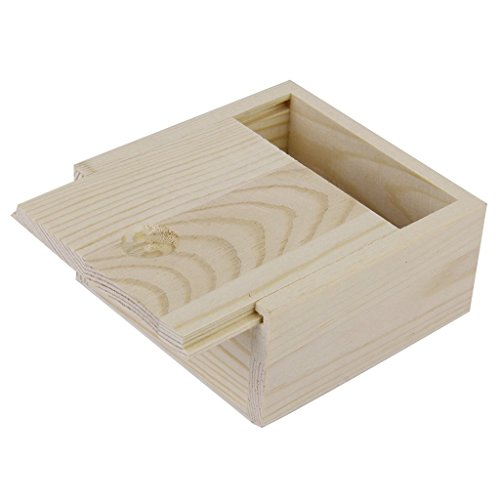 Image of wooden box - TOOGOO(R)Small Plain Wooden Storage Box Case for Jewellery Small Gadgets Gift Wood color