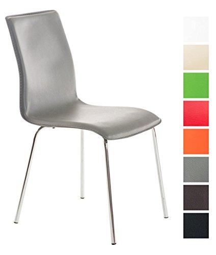 Clp sedia sala pranzo imbottita nicki - sedia con schienale in similpelle e telaio in metallo cromato i sedia design per cucina o sedia conferenza, facile da pulire i sedia soggiorno moderna grigio