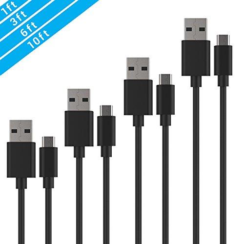 YOKIRIN Neueste Micro USB Ladekabel Kabel 4X Schwarz PVC High Speed Ladekabel Datenleitung Datenkabel Verbindungskabel für Android Smartphones Samsung Galaxy ,HTC ,Huawei, Sony, Nexus, Nokia, Kindle,LG,Motorola,Blackberry,Xiaomi (1x0.3m,1X0.9m,1x1.8m,1X3m)