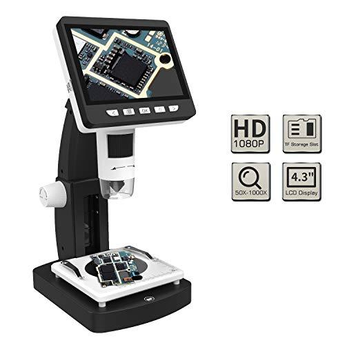 "MoKo USB LCD Digital Mikroskop mit 2M HD Bildsensor, 50x-1000x Vergrößerung, 4.3\"" TFT Display, 8 LED, Kamera Videorekorder, Wiederaufladbar Akku, für Windows & Mac PC - Schwarz"