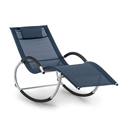 Blumfeldt westwood rocking chair - sedia a dondolo, sedia a sdraio, 164x83x65 cm (lxaxp), ergo comfort: superficie di appoggio ergonomica, ergo relax: cuscino regolabile e rimovibile, blu scuro